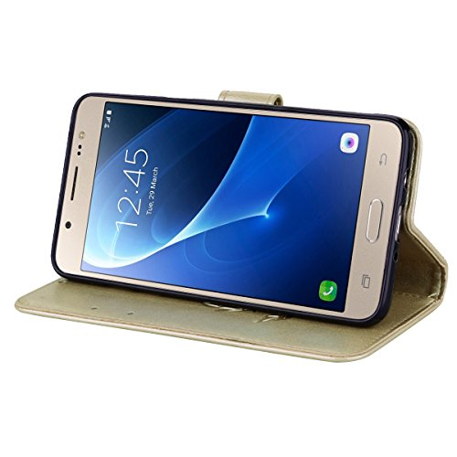 Coque Samsung J5 (2016) Anfire Fleur Motif Peint Mode Coque PU Cuir pour Galaxy J5 (2016) Etui Case Protection Portefeuille Rabat Étui Coque Housse pour Samsung Galaxy J5 (2016) / SM-J510FN (5.2 pouce Or