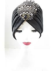 Black Gold Feather Turban Headpiece Vintage 1920s Flapper Great Gatsby Hat V90 *EXCLUSIVELY SOLD BY STARCROSSED BEAUTY* by Starcrossed Beauty