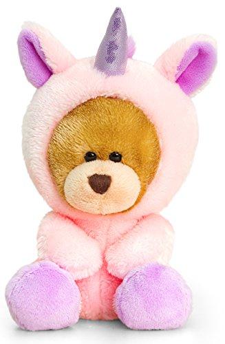 Kopf Teddybär Kostüm (Plüschtier Bär, Pipp the Bear als Einhorn, Kuscheltier brauner Teddy verkleidet, Stoffbär ca. 14)