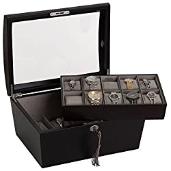 Mele & Co. Royce Locking Glass Top Wooden Watch Box in Java Finish