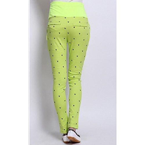 Highdas enceintes Pantalons Femmes abdominales maternité haute élastiques Pantalons Leggings Belly Fluorescent Yellow