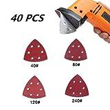 LEEQ 40 Stück Schleifpapier, selbstklebend, dreieckig, Schleifpapier, gemischte Körnung 40/80/120/240 Detail-Schleifpads zum Schleifen/Polieren/Rosten