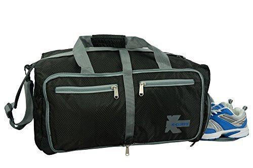 K-Cliffs Leichter Turnbeutel, faltbar, für Reisen, strapazierfähig, mit Schuhtasche, Unisex, schwarz, Medium -