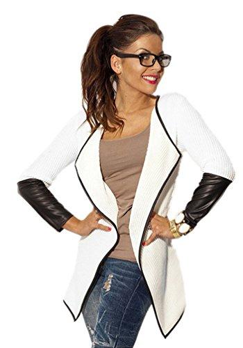 ZKOO Damen Mode Ärmel Stitching Leder Cardigan Mantel Einfarbig Schlank Outwear Weiß XL