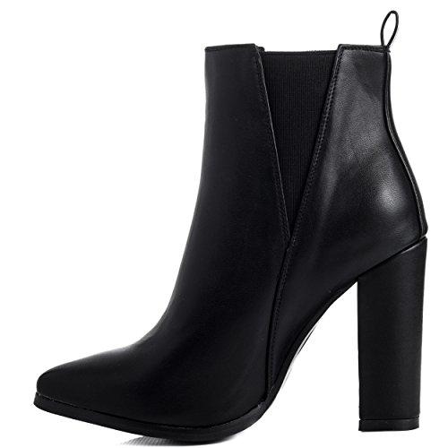 Spylovebuy RADIANT Femmes à Talon Bloc Chelsea Boots Bottines Noir - Similicuir