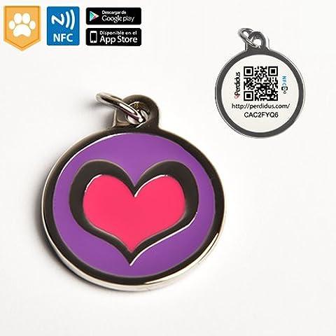 Placa identificativa Corazón Brass para mascotas con NFC, QR, WebID - Perdidus
