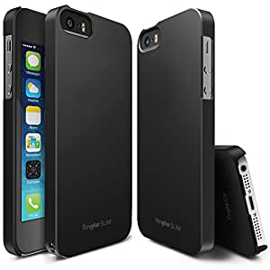 iPhone SE / 5S / 5 Case, Ringke [SLIM] Snug-Fit Slender [Tailored Cutouts] Ultra-Thin Side to Side Edge Coverage Superior Coating PC Hard Skin for Apple iPhone SE (2016) / 5S (2013) / 5 (2012) - Black