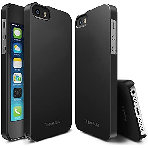 Funda iPhone SE / 5S / 5, Ringke [SLIM] ajuste en el mango [Los recortes adaptados] Cubierta ultra-delgado superior de revestimiento duro para Apple iPhone SE 2016 / 5S 2013 / 5 2012 - SF Black