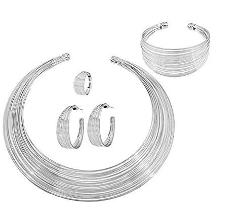 Cdet 5 PCS Collier d'oreille Style à rayures Alliage pour femme avec Bague Mode élégante Filles Style Nouveau