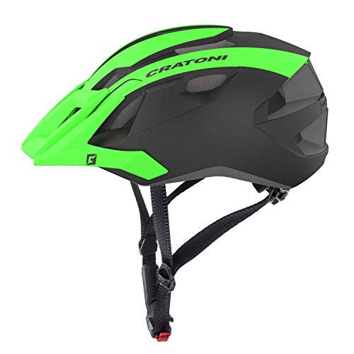 Cratoni Mountainbike Helm AllRide, Black-Green Matt, Gr. Uni (53-59 cm)