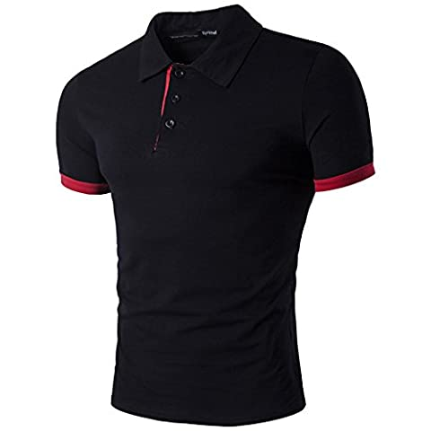 BicRad Herren Poloshirt Slim Fit Baumwolle (M, Schwarz)