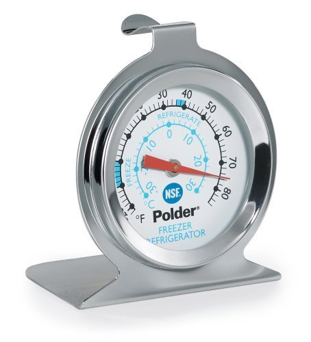 Polder THM-560N Fridge/Freezer Thermometer, Stainless Steel by Polder -