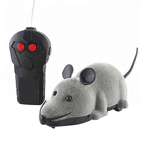 Mini à piles Télécommande Rat Souris Jouet pour chat chien Pet Fantaisie Coffret cadeau Funny Gris