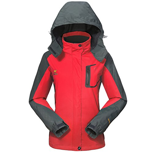 GIVBRO Damen Softshell Regenjacke 2017 Neues Design Sport Wasserdichte Outdoorjacke Atmungsaktive Multifunktions Funktionsjacke Jacke,Rot,EU 36(Herstellergröße:S)