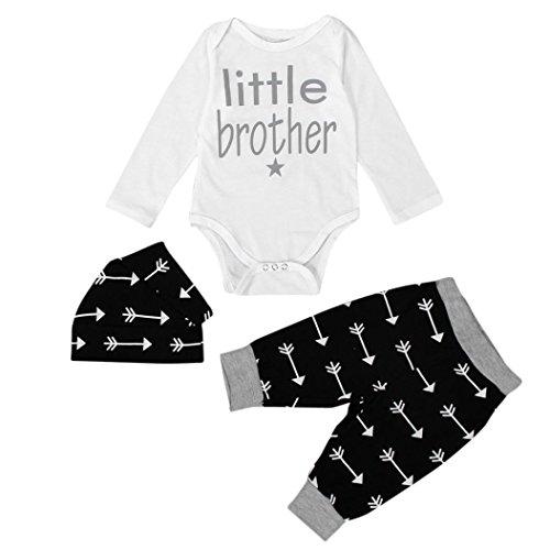 Bekleidung Jungen Xinan Neugeborenen Baby Boy Tops Body + Leggings Hose Hat Outfits Set (70cm (0-6 Monate), Schwarz)