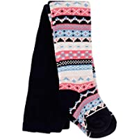 Bright Bots 6/12m Baby Girls Tights Cosy Patterned - Navy Blue