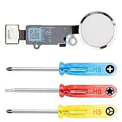 MMOBIEL Home Button kompatibel mit iPhone 7/7 Plus (Silber/Weiß) mit Flexkabel inkl 3X Schraubenzieher