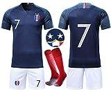 OUJD Ensembles de Sport Maillot de Football Enfant Coupe du Monde Maillot Football France 2 étoiles Suit de Football et Chaussettes