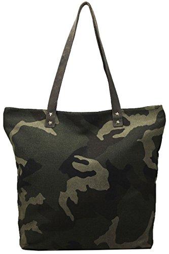 FERETI Borsa pelle Verde marrone militare camuffamento esercito army donna moda