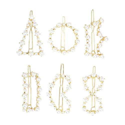 Lurrose 6pcs perlas decoración hueca pinza de pelo oro geométrico pasadores de pelo para mujeres niñas