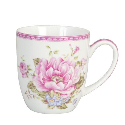 Clayre & Eef Edle Porzellan Kaffe Tasse Cup Rosa Rosen