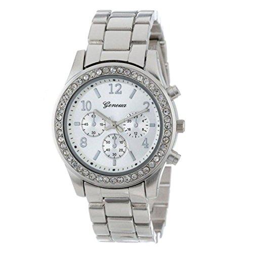PLOT Damen Quarzuhr Ziffern | Mode Stahlband Uhren mit Strass| Armbanduhren Für Frauen | Dekoration | Geschenke Für Frauen | Einstellbar Uhrenband | Quarzwerk | Drei-Augen Uhren (Silber)