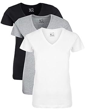 Berydale Camiseta de manga corta de mujer, con cuello de pico, lote de 3, en varios colores