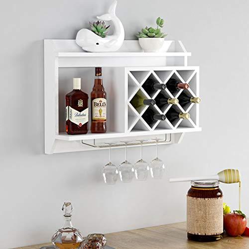 LEI ZE JUN UK- Massivholz Weinregal Wand hängende Weinschrank Wohnzimmer Moderne minimalistische Rack hängenden Wand Weinregale & -Halter (Farbe : Weiß) - Aus Ziel Weinregal
