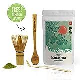 Vireo Bloom Matcha Tee Pulver aus Japan in Premium Tee-Zeremonie Qualität – 50g original japanischer Grüner Tee für Matcha Latte, Smoothies, Eis & Schokolade, Gratis Matcha Besen and Bambus-Teelöffel