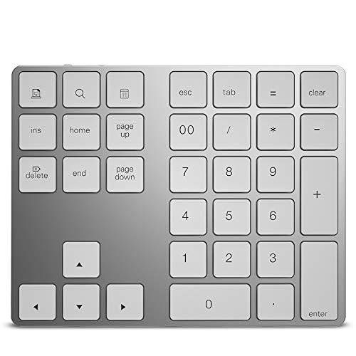 ZUEN 34-Key Bluetooth Wireless Multi-Funktion Numeric Keypad Aluminum Numeric Keypad Für Apple Computer,White Apple Serviette