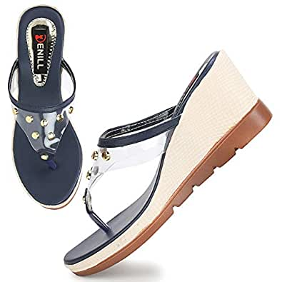 Denill Latest Collection, Comfortable & Stylish Wedges for Women's and Girl's Blue
