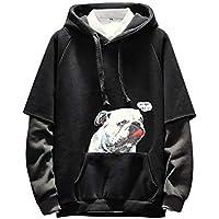 Yvelands Sudadera para Hombre de Estilo Hip Hop, Moda para Hombres Puppy Printed Long-Seeved Fake Sweater de Dos Piezas.