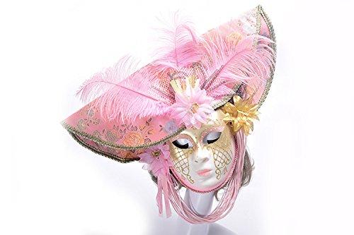 K&C Halloween Kostüm Masquerade Maske Venedig Stil Maske Mit Federn (Rosa Kostüme Genie)
