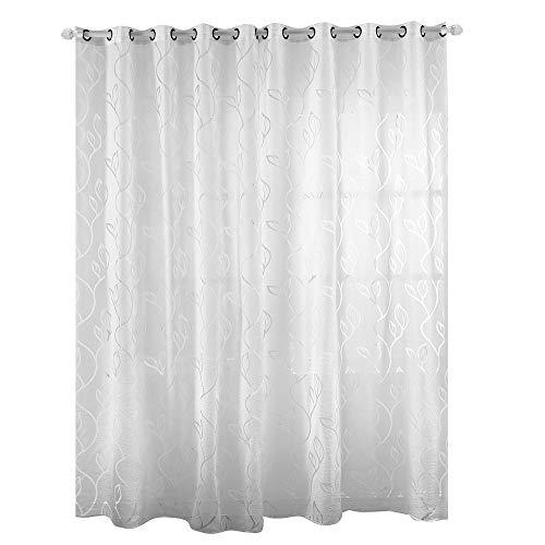 Enjoygoeu Ösengardine Transparent Vorhang Blätter Muster Ösenschal Voile Weiß Vorhang Fenstersiebung Schlaufenschal Modern Dekoschal für Wohnzimmer (Weiß, 100 x 250 cm)