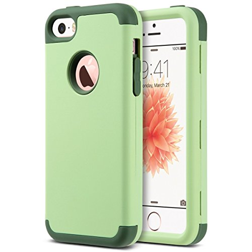 ULAK iPhone 5s SE Hülle, iPhone 5S Case 3in1 Stoßfest Hybrid High Impact Hart PC und Weiche Silikon Schutzhülle Tasche Case Cover für Apple iPhone 5c/5/5s/SE (K-Grün) (Touch Grüner 5 Ipod Ulak)