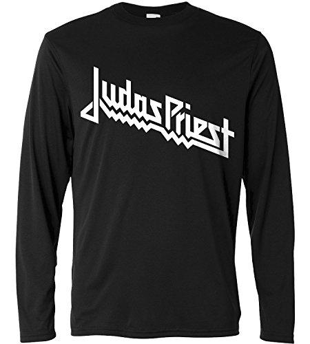 Camiseta de manga larga hombre - Judas Priest- white logo - Long Sleeve 100% algondon LaMAGLIERIA, S, Negro