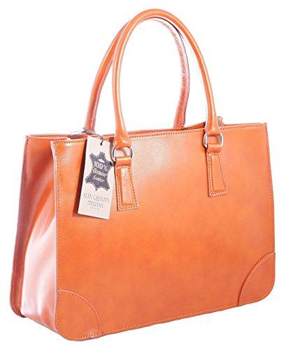 CTM sac de femme classique et élégante, de style italien, 36x26x18cm, cuir véritable 100% Made in Italy