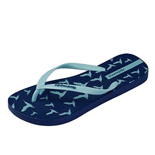 Hotmarzz Chanclas Para Mujer Aves Sandalias Verano Playa Zapatillas Piscina Flip Flops (40 EU/41 CN, Azul)
