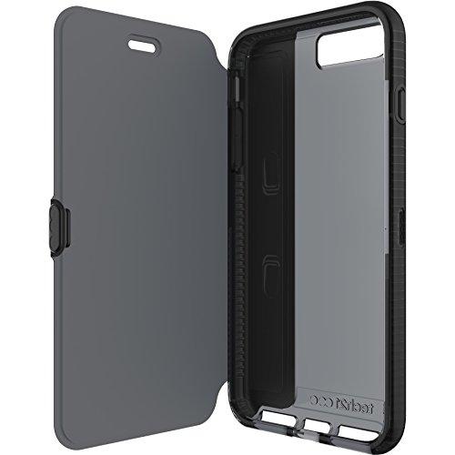 Tech21 Evo Wallet Flip Folio Schutzhülle Widerstandsfähig Schlagfest mit FlexShock Aufprallschutz und Kartenfach für iPhone 7 Plus - Schwarz