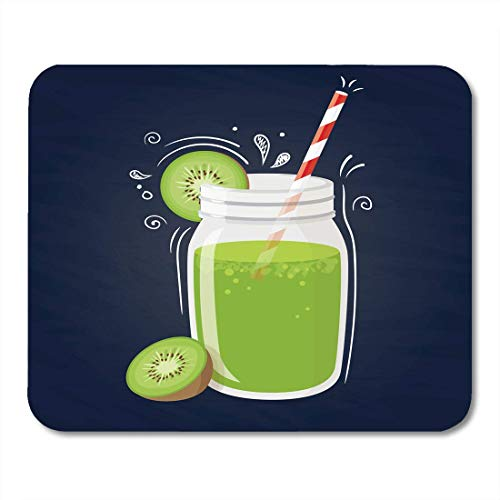 AOHOT Mauspads Green Detox Kiwi Smoothie Healthy Drink Fruit on Blue Watercolor Shake Beverage Mouse pad 9.5