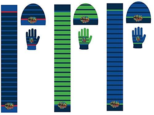 Turtles Winterset mit Mütze, Schal und Handschuhe für Kinder 3-9 Jahre Beanie Strickmütze TMNT Set Teenage Mutant Ninja Turtles