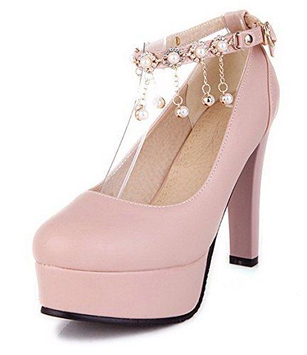AgooLar Damen Schnalle Rund Zehe Hoher Absatz Eingelegt Pumps Schuhe Pink