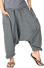 Whitewhale Mens Stripe Cotton Summer Baggy Boho Aladdin Hippie Yoga Harem Pants
