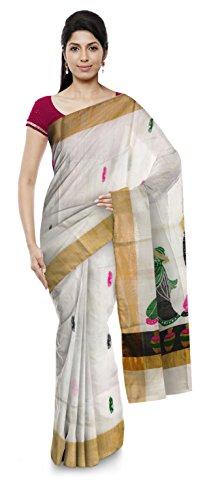 Nitu's Creation Bengal Handloom Kota silk Saree for Women (White)