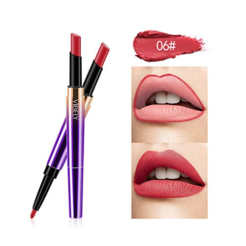 AMUSTER Stylo de rouge à lèvres Durable imperméable Lip Liner Stick Pencil Rouge à Lèvres Crayon Mat (F)