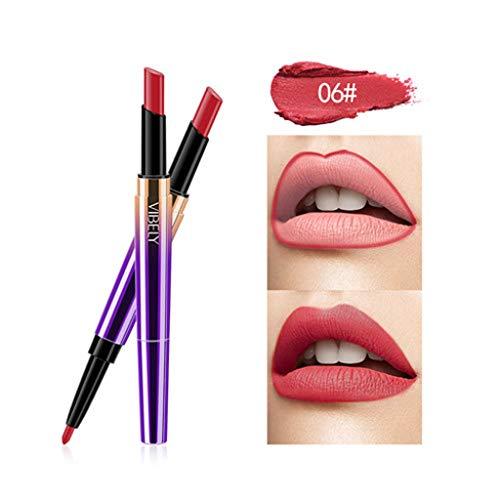 Rouge à lèvres,Feytuo Double-end Lasting Lipliner Waterproof Lip Liner Stick Pencil 16 Color Nouveau Lip Matte Liquide Cadeau Saint Valentin imperméable Maquillage à lèvres Brilla