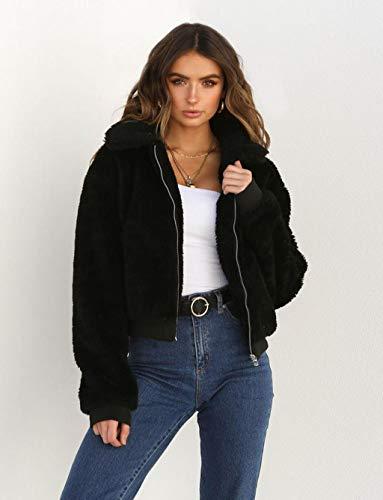 ZLJWRQY Women es Long Sleeve Fearling Plush Coat Sleeve Lapel Zip Up Jacket with Pockets Warm Winter,Black,S -