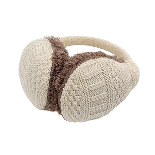 Hee Grand Damen Elegant Winter abnehmbare Ohrenschuetzer Strick Ohrenwaermer in vielen Farben Unisex Beige