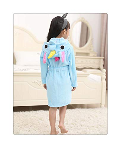Flannel Cartoon Animal Shape Cosplay Boy Child Girl Bathrobe Baby Pajamas Home Service Halloween Party Gift 12 7T ()
