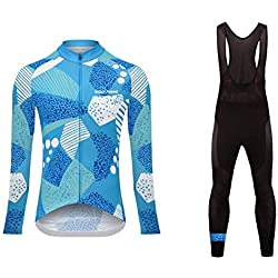 Sports Wear Uglyfrog Long Sleeve Cycling Jersey Winter Thermal Fleece with Bibs for Women, Cycling Clothing Sets, Bicycle Clothing Suits Warm Thermal Fleece Lining (Two Pieces)